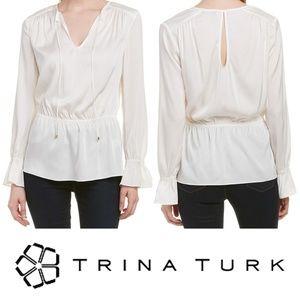 Trina Turk Laurel Top White Keyhole Back Medium